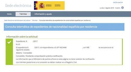 Resolución de Concesión de Nacionalidad Española de Hicham