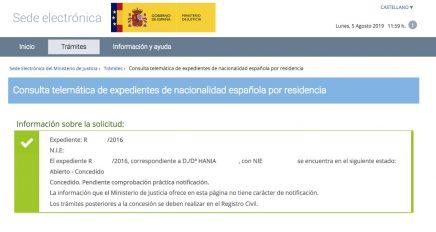 Resolución de Concesión de Nacionalidad Española de Hania