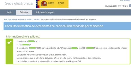 Resoluciones de Concesión de Nacionalidad Española: 23 Agosto 2019
