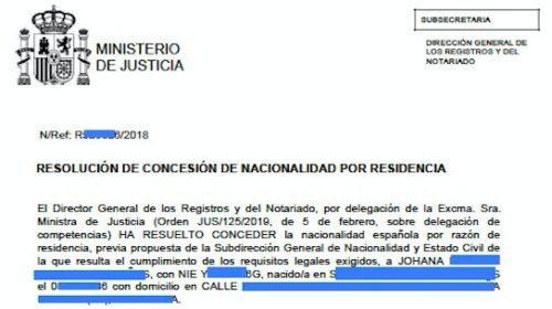 Resoluciones de Concesión de Nacionalidad Española: 22 Agosto 2019