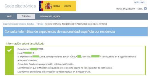 Resolución de Concesión de Nacionalidad Española: 27 Agosto 2019