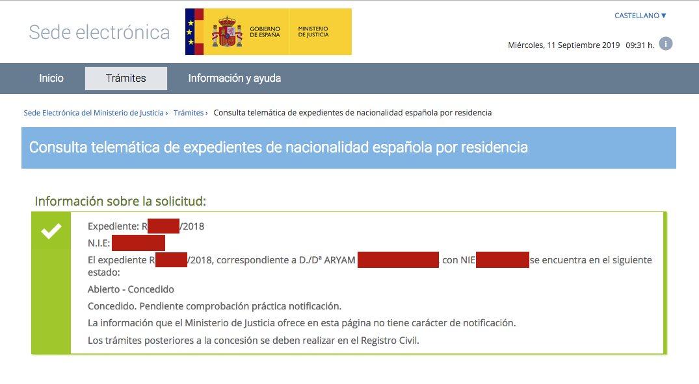 Resolución de Concesión de Nacionalidad Española de Aryam
