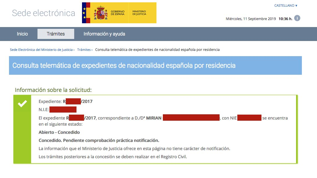 Resolución de Concesión de Nacionalidad Española de Mirian