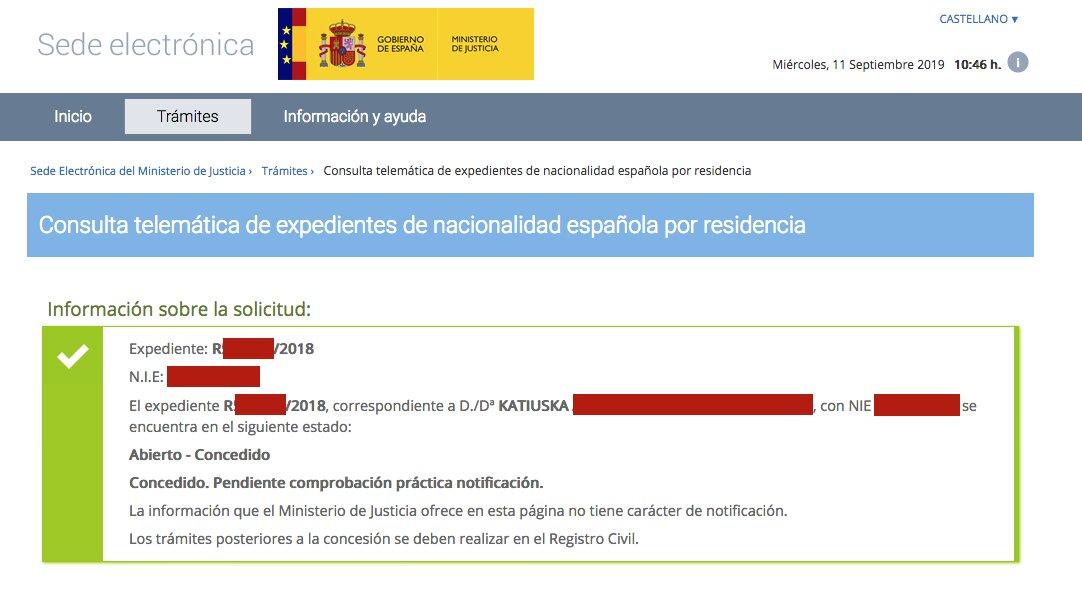 Resolución de Concesión de Nacionalidad Española de Katiuska