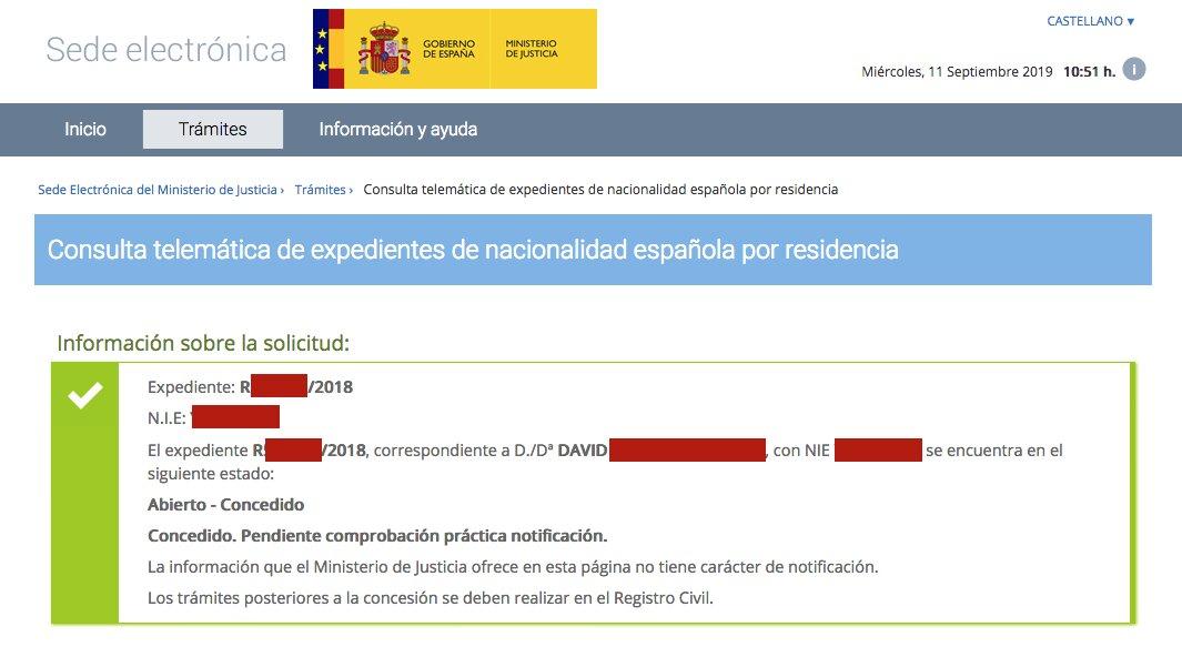 Resolución de Concesión de Nacionalidad Española de David
