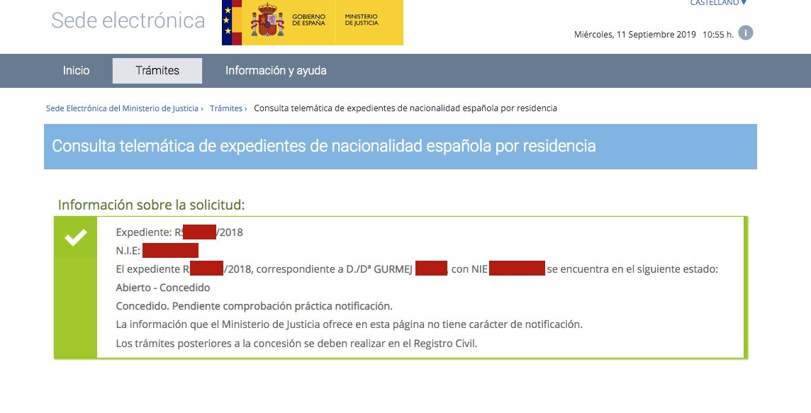 Resolución de Concesión de Nacionalidad Española de Gurmej