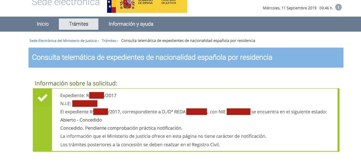 Resolución de Concesión de Nacionalidad Española de Reda