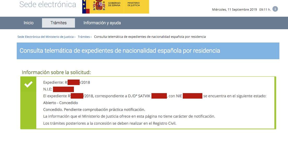 Resolución de Concesión de Nacionalidad Española de Satvik