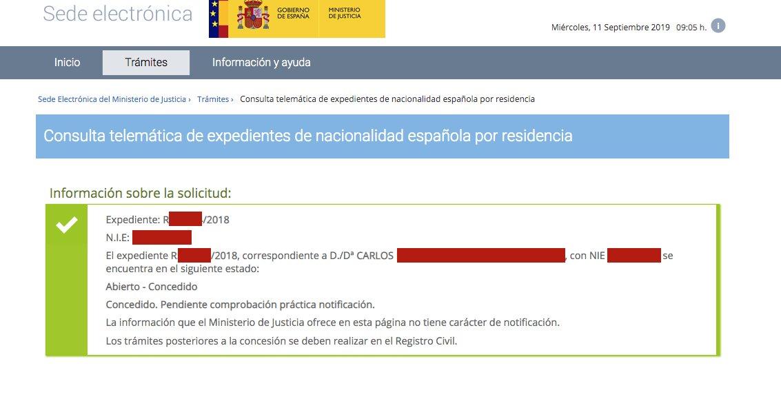 Resolución de Concesión de Nacionalidad Española de Carlos