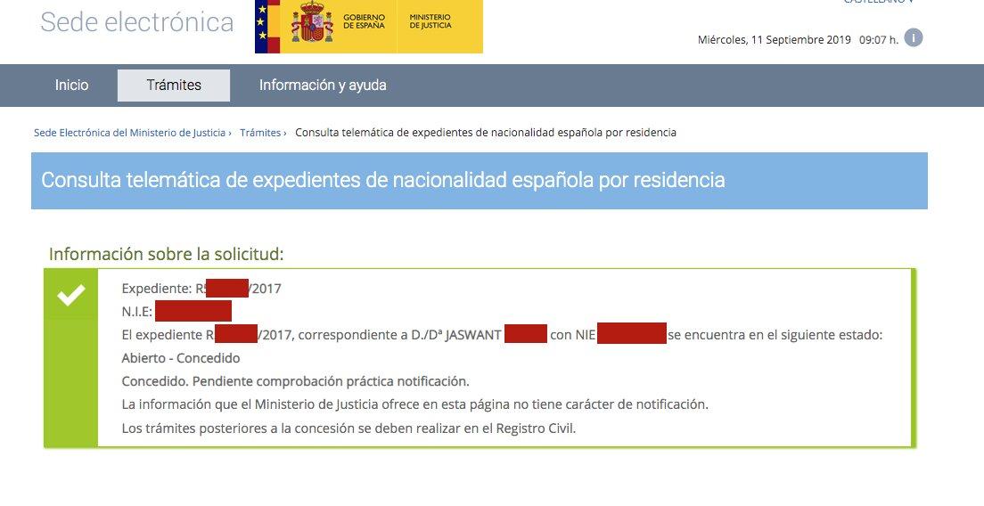 Resolución de Concesión de Nacionalidad Española de Jaswant