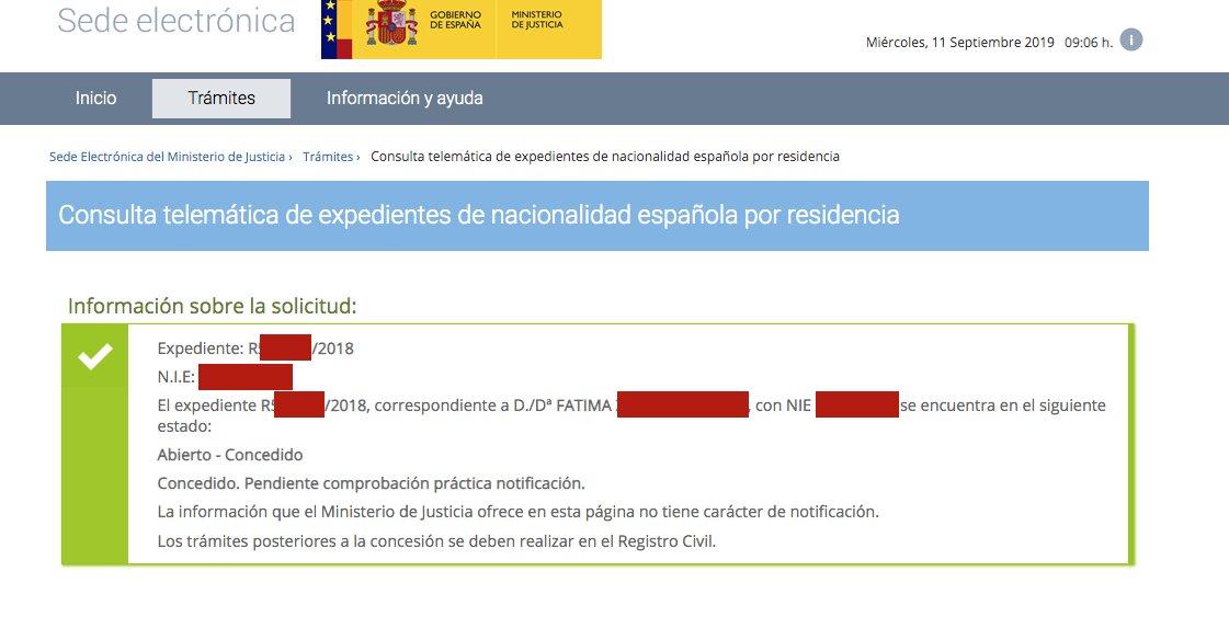 Resolución de Concesión de Nacionalidad Española de Fátima