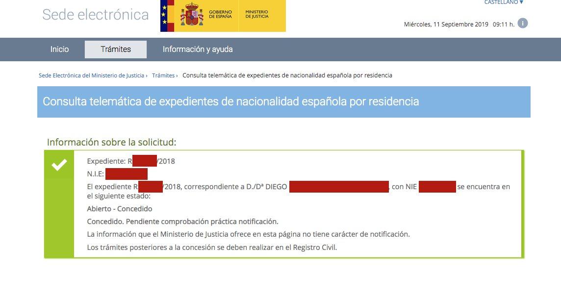 Resolución de Concesión de Nacionalidad Española de Diego