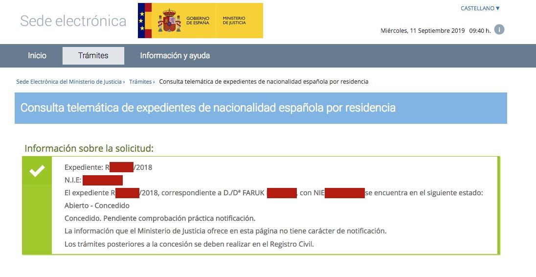 Resolución de Concesión de Nacionalidad Española de Faruk