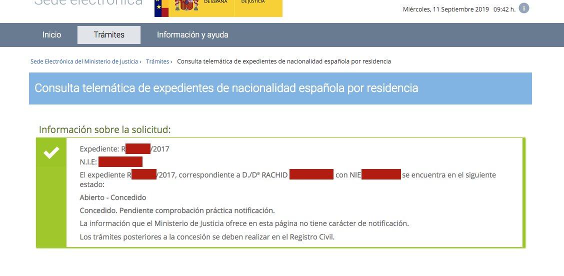 Resolución de Concesión de Nacionalidad Española de Rachid