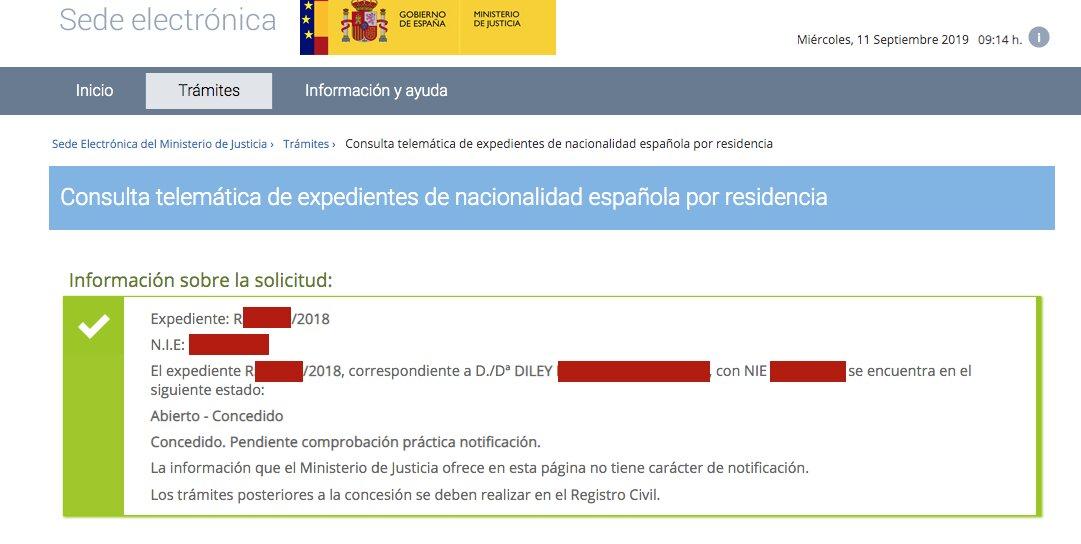 Resolución de Concesión de Nacionalidad Española de Diley