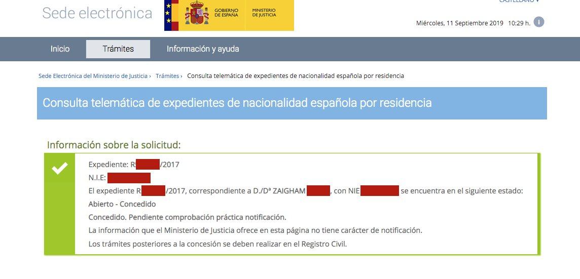 Resolución de Concesión de Nacionalidad Española de Zaigham