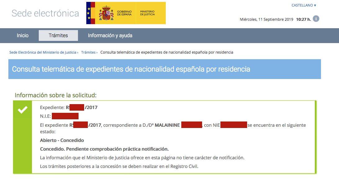 Resolución de Concesión de Nacionalidad Española de Malainine