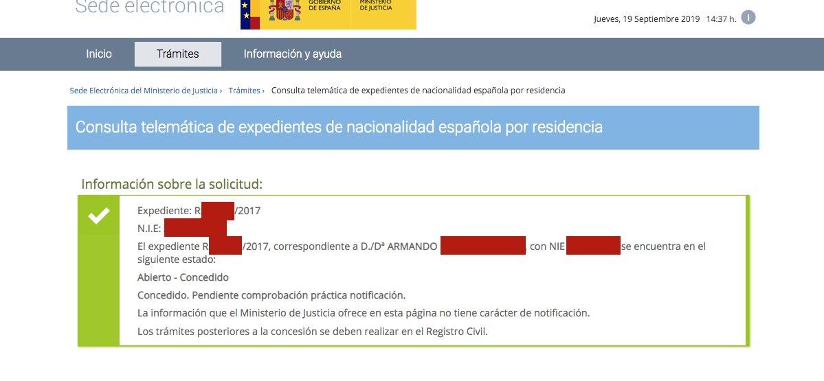 Resoluciones de Concesión de Nacionalidad Española Armando