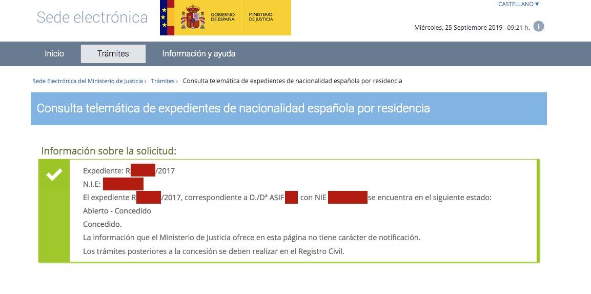 Resolución de Concesión de Nacionalidad Española de Asif