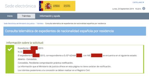 Resoluciones de Concesión de Nacionalidad Española: 23 Septiembre 2019