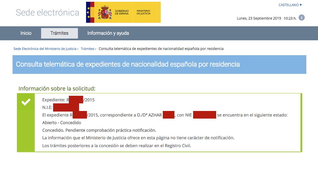Resolución de Concesión de Nacionalidad Española de Azhar