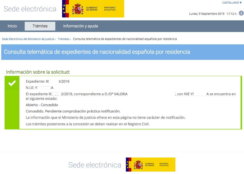Resoluciones de Concesión de Nacionalidad Española Valeria