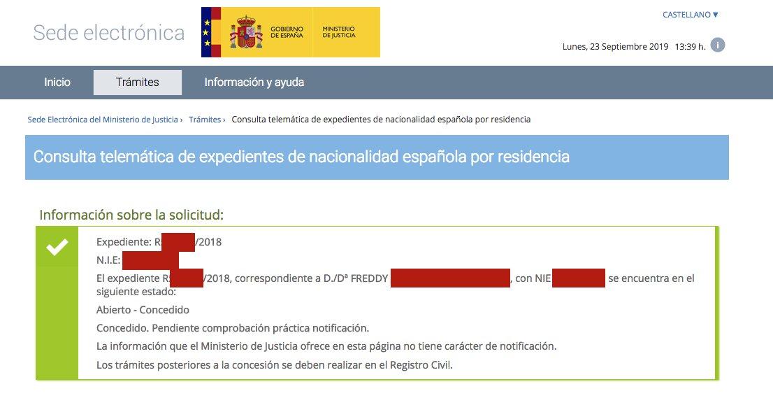 Resolución de Concesión de Nacionalidad Española de Freddy