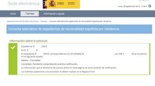 Resoluciones de Concesión de Nacionalidad Española: 30 Septiembre 2019