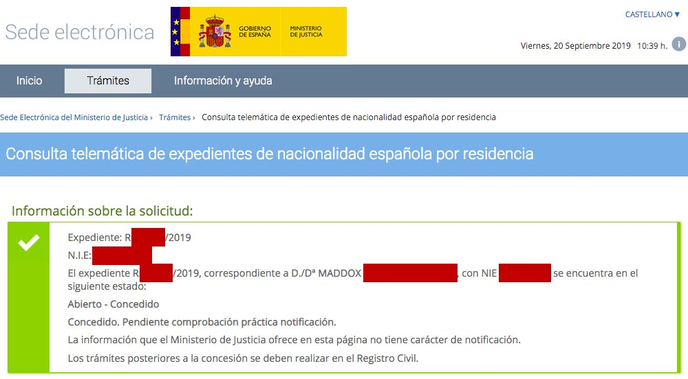 Resolución de Concesión de Nacionalidad Española de Maddox