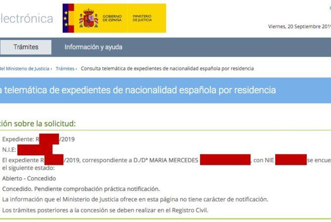 Resoluciones de concesión de nacionalidad española ¡en menos de un mes y sin demanda!