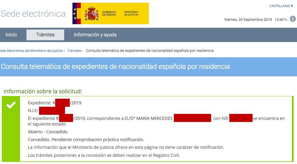 Resolución de Concesión de Nacionalidad Española de María Mercedes