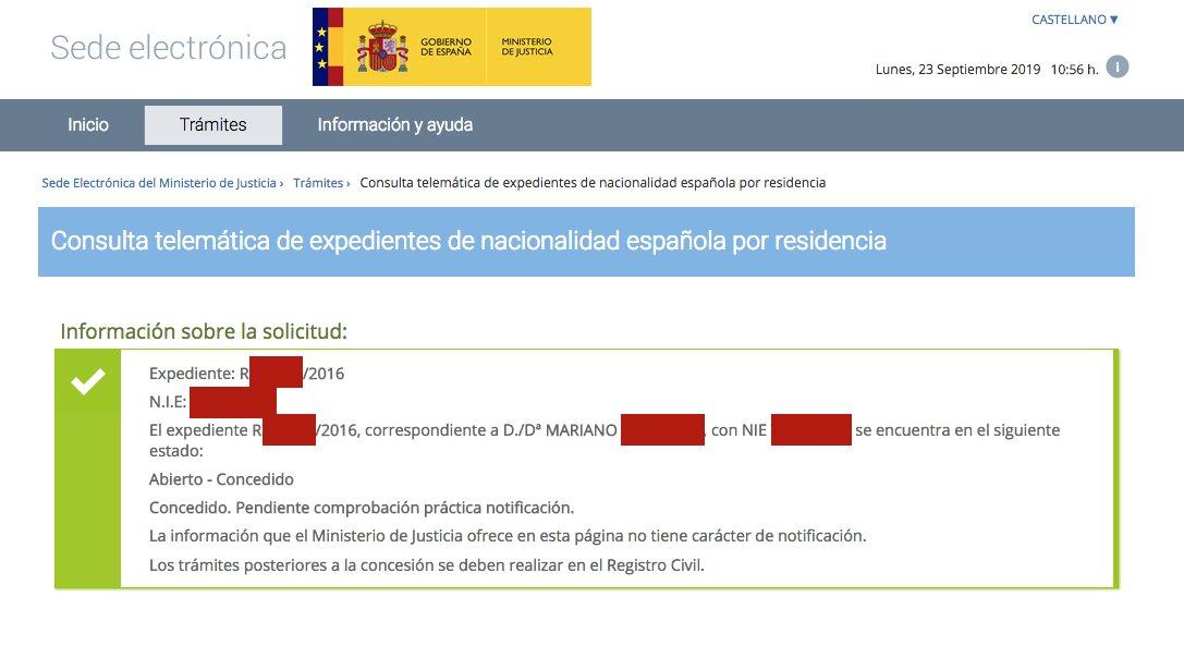 Resolución de Concesión de Nacionalidad Española de Mariano