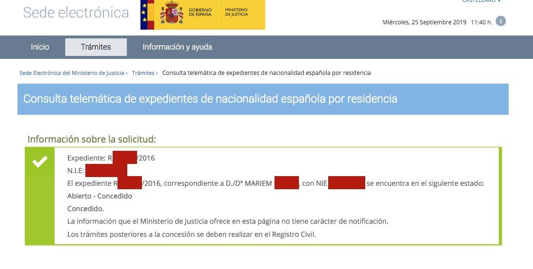 Resolución de Concesión de Nacionalidad de Mariem