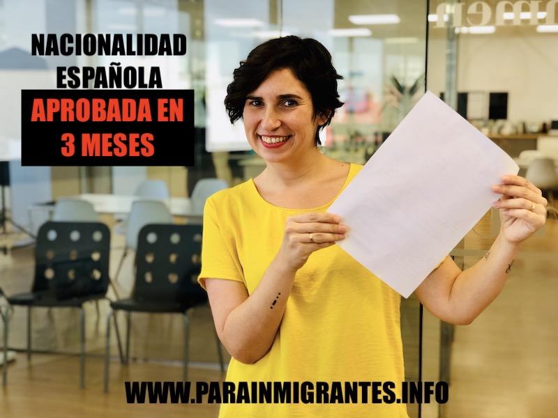 Nacionalidad española aprobada en 3 meses