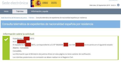 Resoluciones de Concesión de Nacionalidad Española: 25 Septiembre 2019