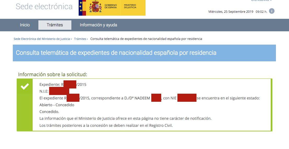 Resolución de Concesión de Nacionalidad Española de Nadeem