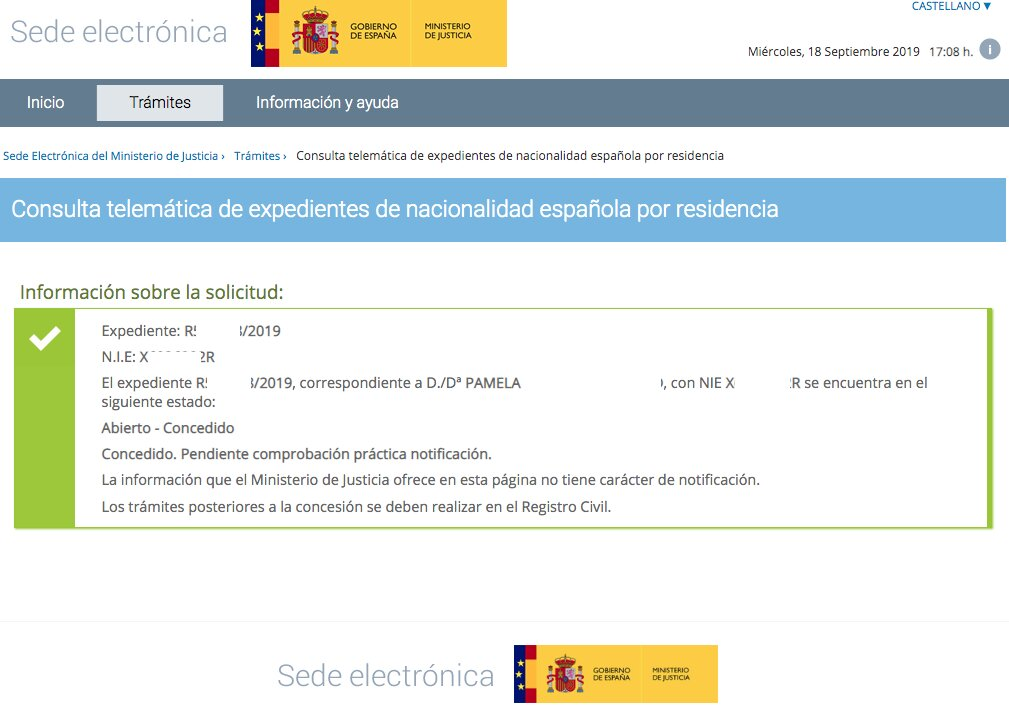 Pamela concesión de nacionalidad española