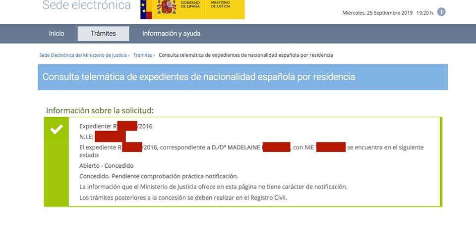 Resolución de concesión de nacionalidad de Madeleine