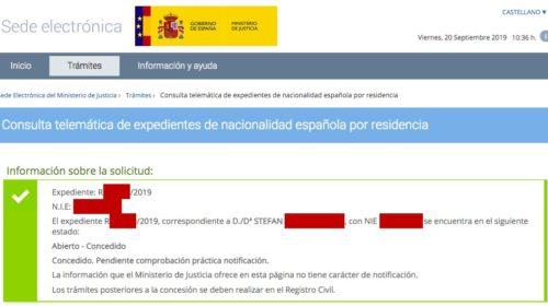Resoluciones de Concesión de Nacionalidad Española: 20 Septiembre 2019