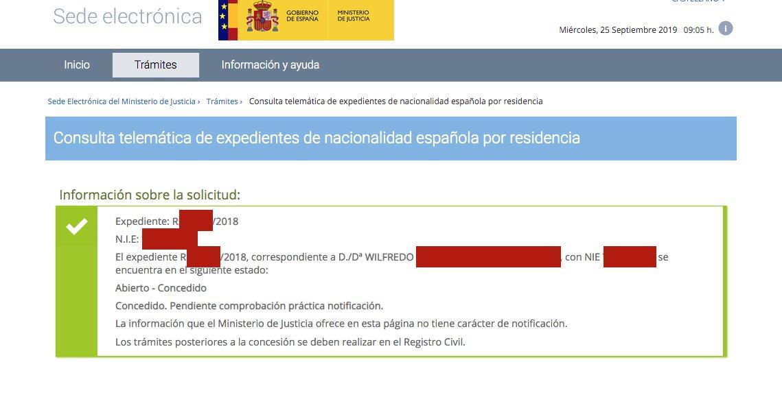 Resolución de Concesión de Nacionalidad Española de Wilfredo