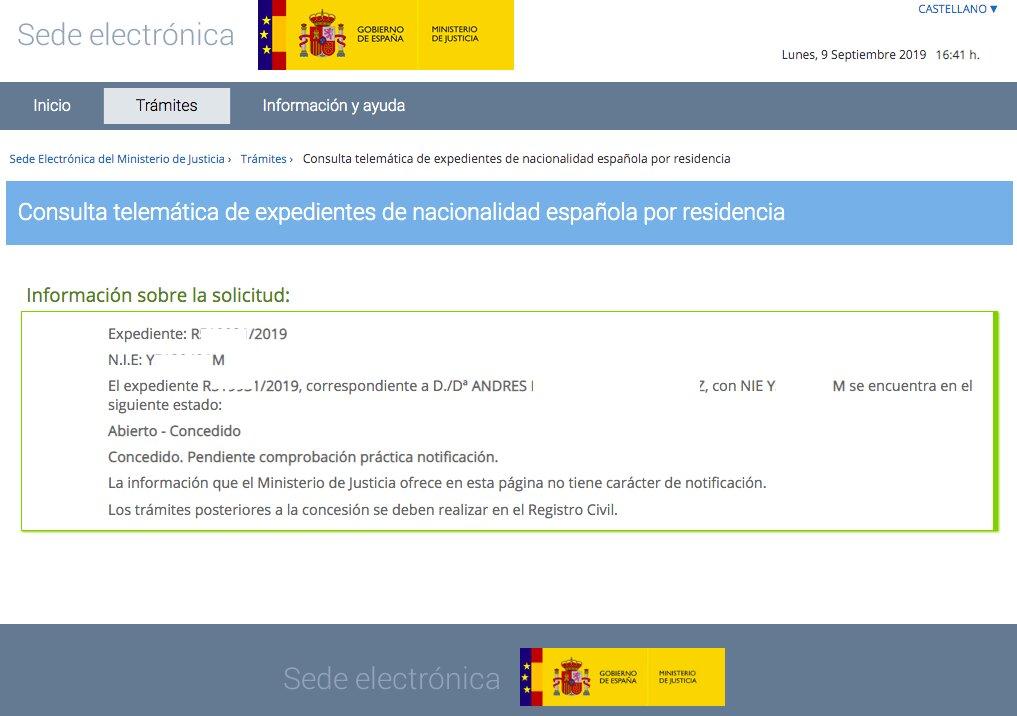 Resoluciones de Concesión de Nacionalidad Española Andrés