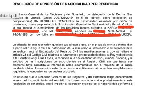 Nacionalidad Española concedida en menos de dos meses.