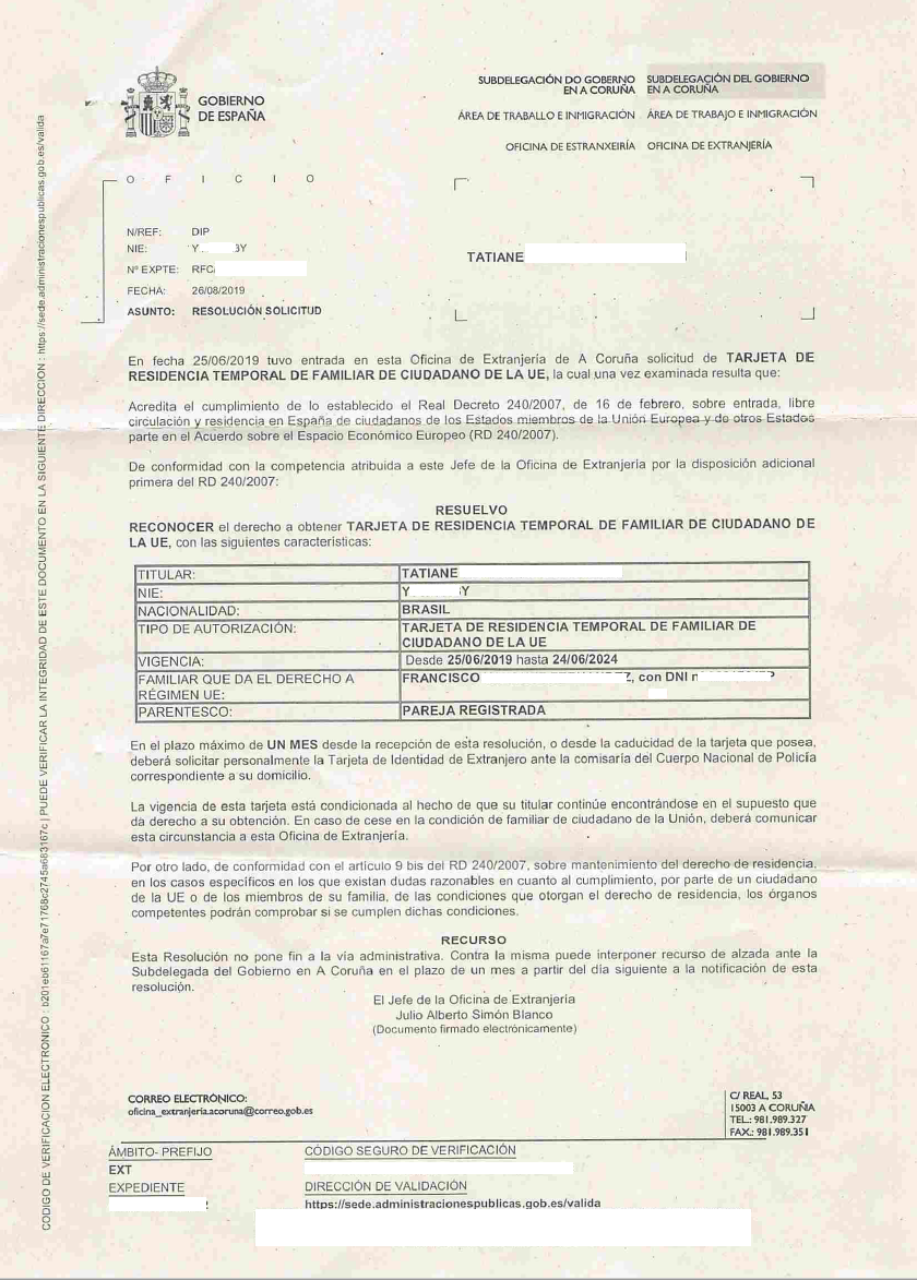 tarjeta de residencia temporal de familiar de ciudadano de la UE Pareja Registrada