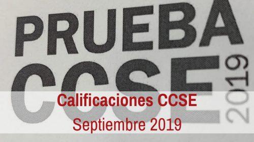 Calificaciones Examen CCSE Septiembre 2019