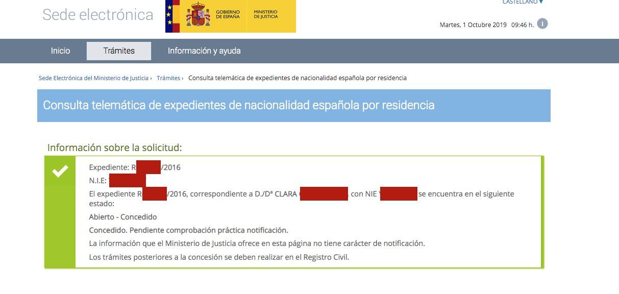 Resolución de Concesión de Nacionalidad Española de Clara