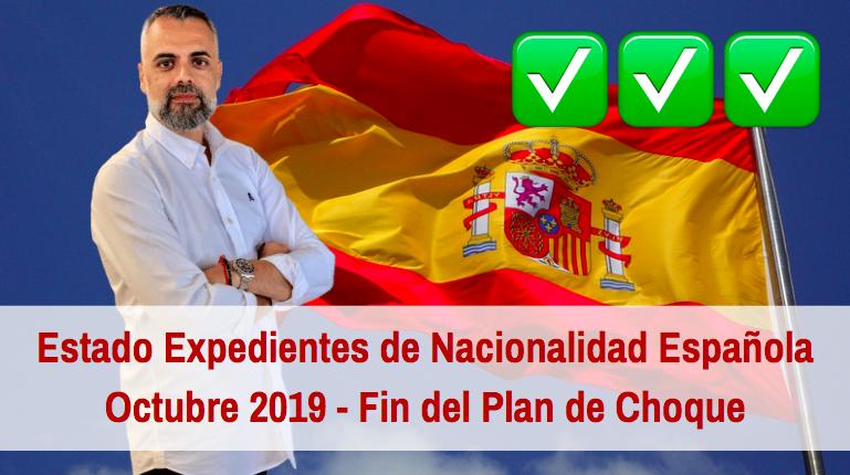Estado de los Expedientes de Nacionalidad Española Octubre 2019. Fin Plan de Choque