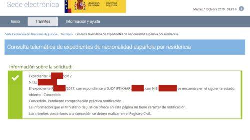 Resoluciones de Concesión de Nacionalidad Española: 1 Octubre 2019