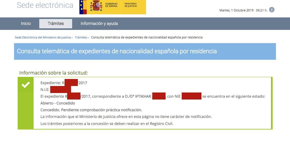 Resolución de Concesión de Nacionalidad Española de Iftikhar