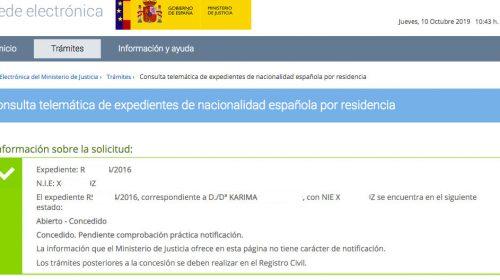 Resoluciones de Concesión de Nacionalidad Española: 10 Octubre 2019