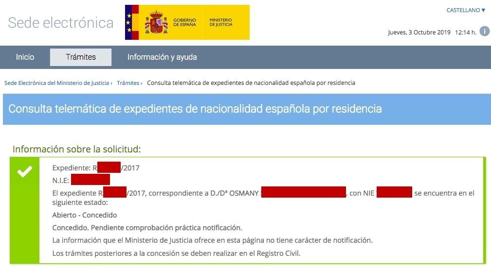 Resolución de Concesión de Nacionalidad Española de Osmany